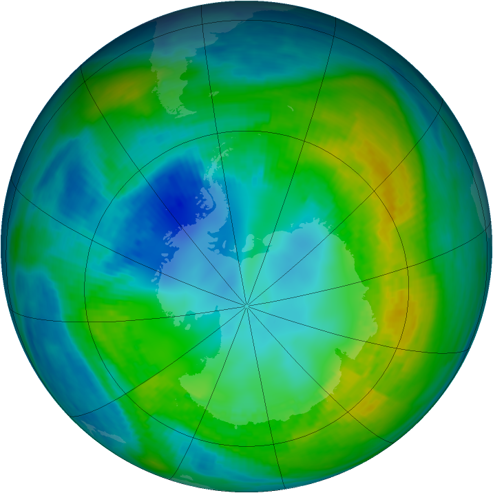 Antarctic ozone map for 27 April 1980