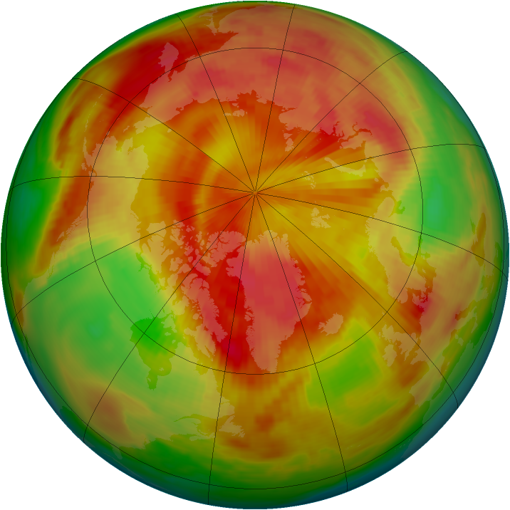 Arctic ozone map for 28 April 1980