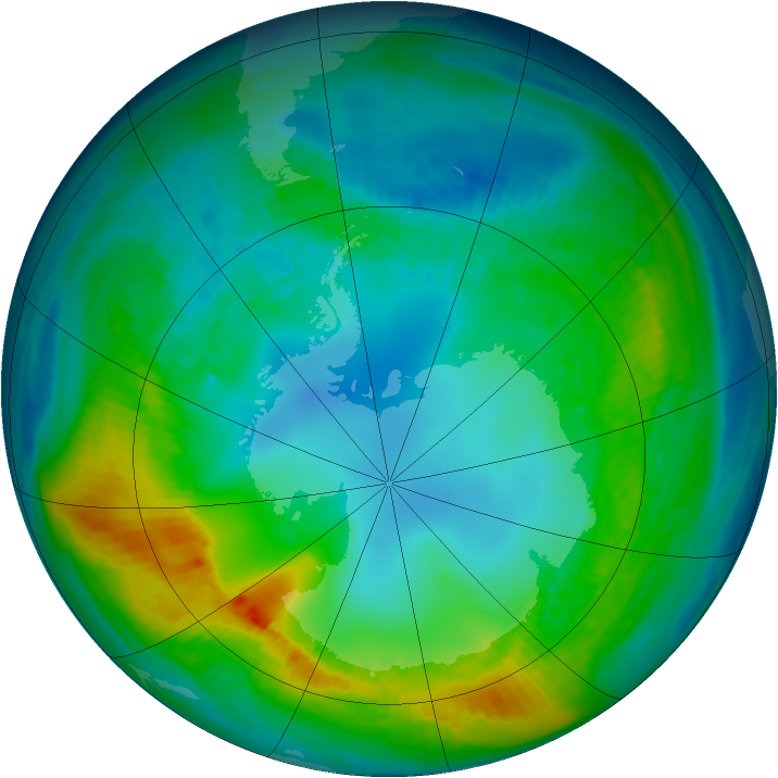 Antarctic ozone map for 04 May 1980