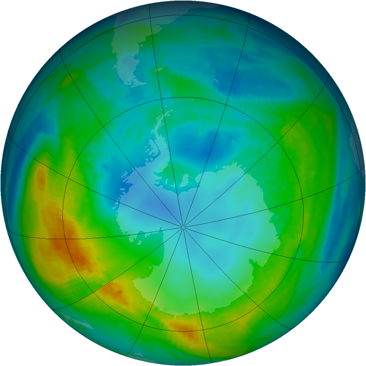 Antarctic ozone map for 05 May 1980