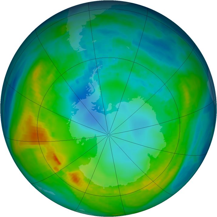 Antarctic ozone map for 06 May 1980