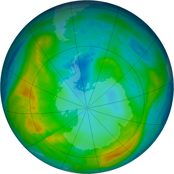Antarctic ozone map for 07 May 1980