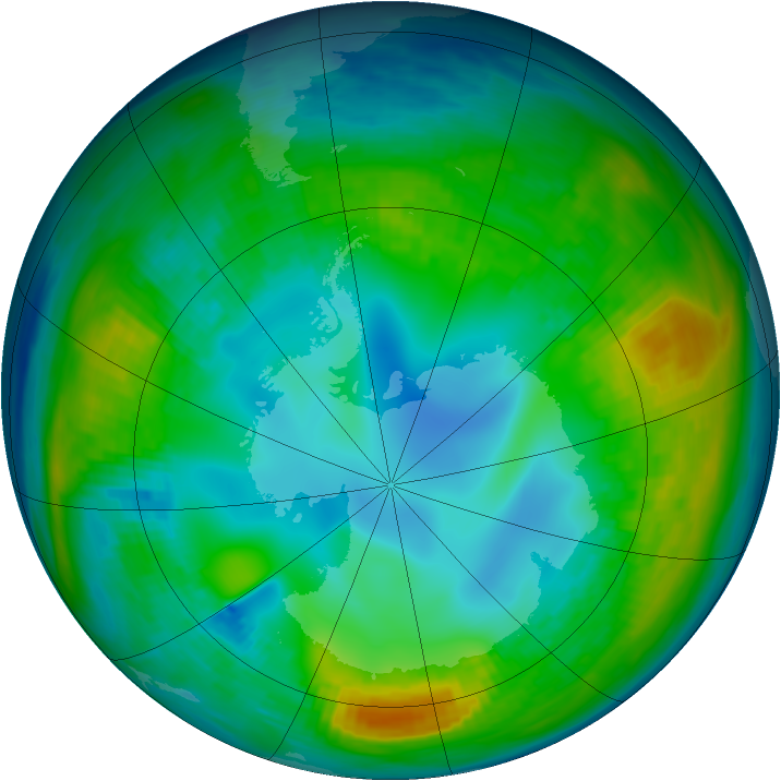 Antarctic ozone map for 13 May 1980