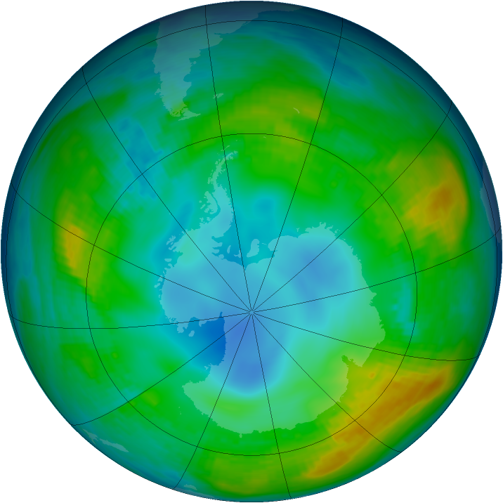 Antarctic ozone map for 16 May 1980