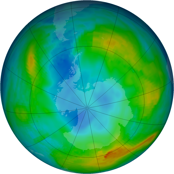 Antarctic ozone map for 17 May 1980