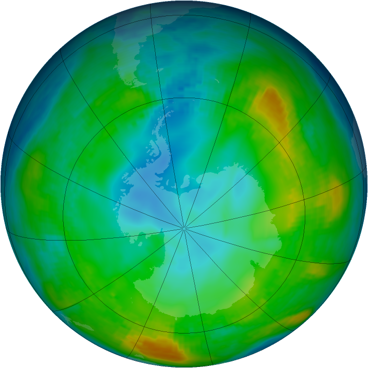 Antarctic ozone map for 19 May 1980