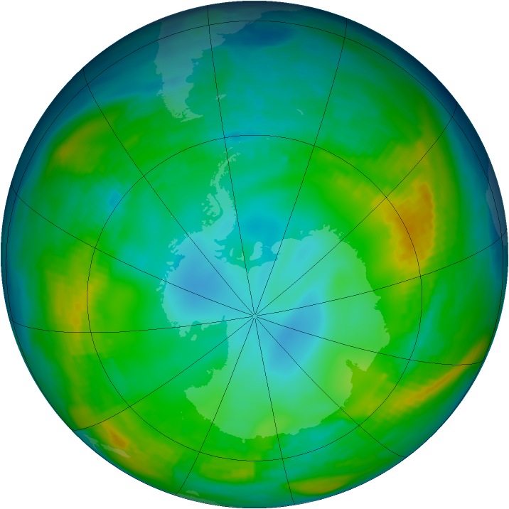 Antarctic ozone map for 21 May 1980