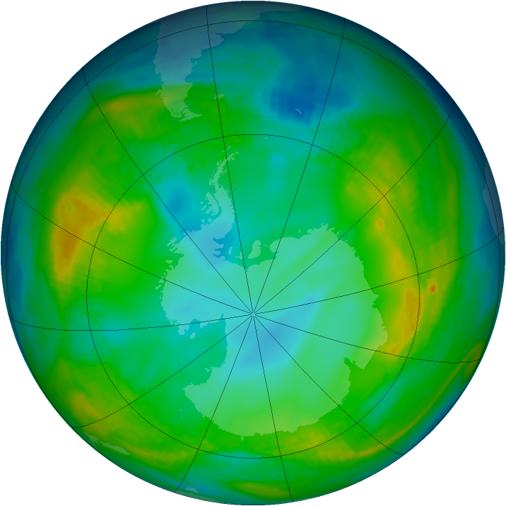 Antarctic ozone map for 22 May 1980