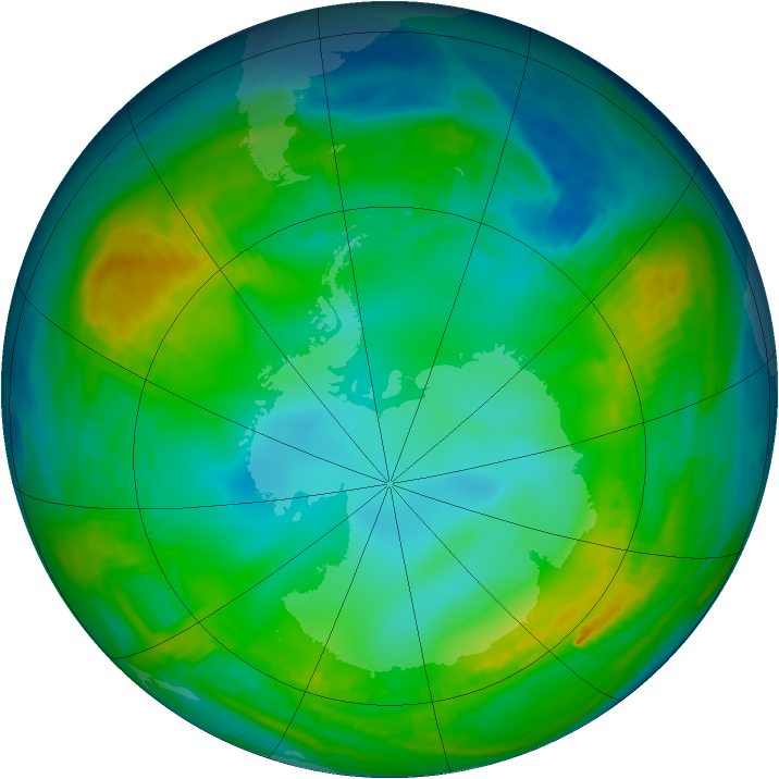 Antarctic ozone map for 23 May 1980