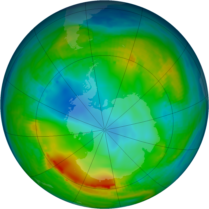 Antarctic ozone map for 27 May 1980