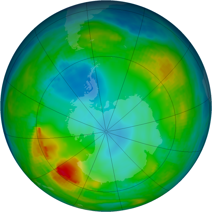 Antarctic ozone map for 28 May 1980