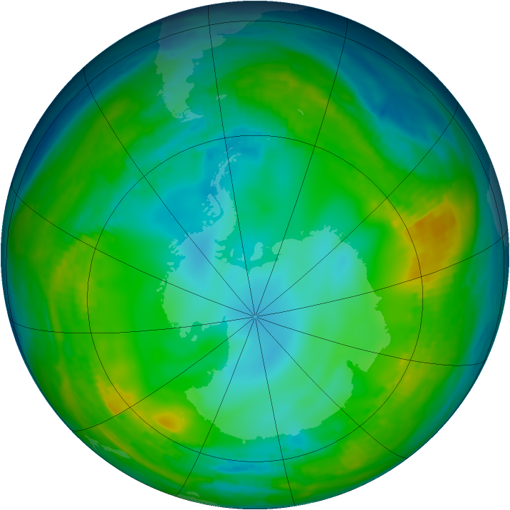 Antarctic ozone map for 29 May 1980