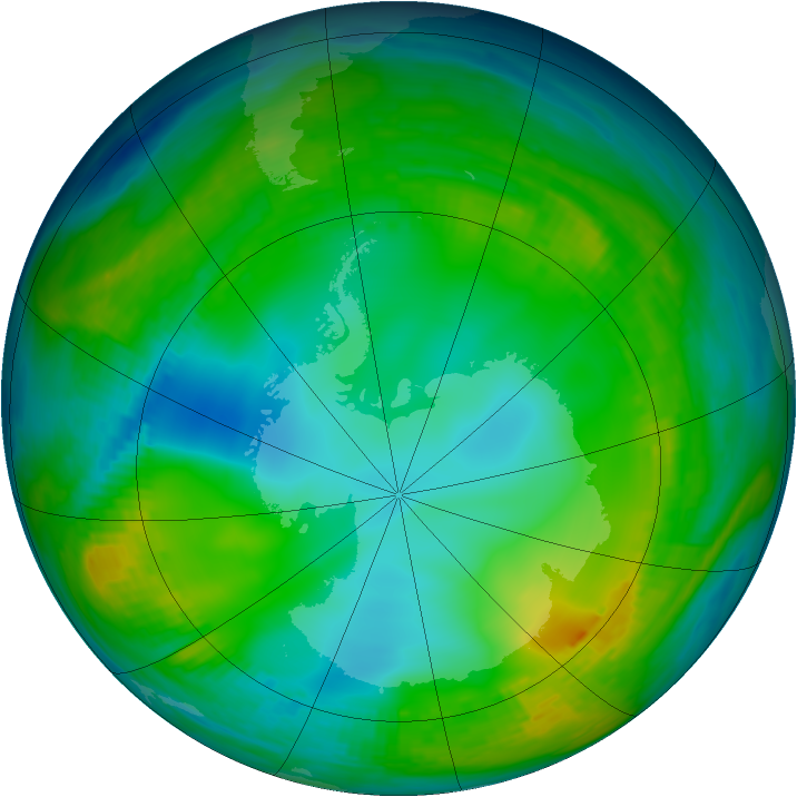Antarctic ozone map for 31 May 1980