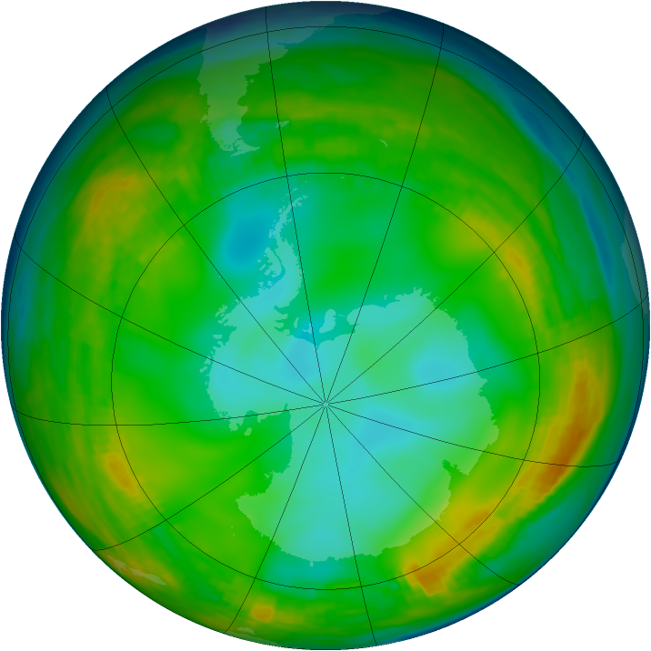 Antarctic ozone map for 04 July 1980