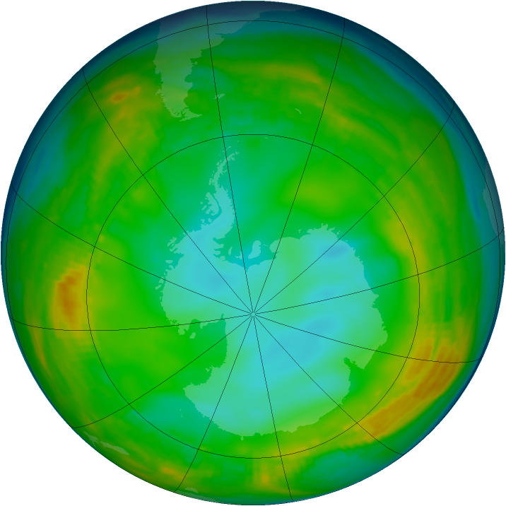 Antarctic ozone map for 05 July 1980