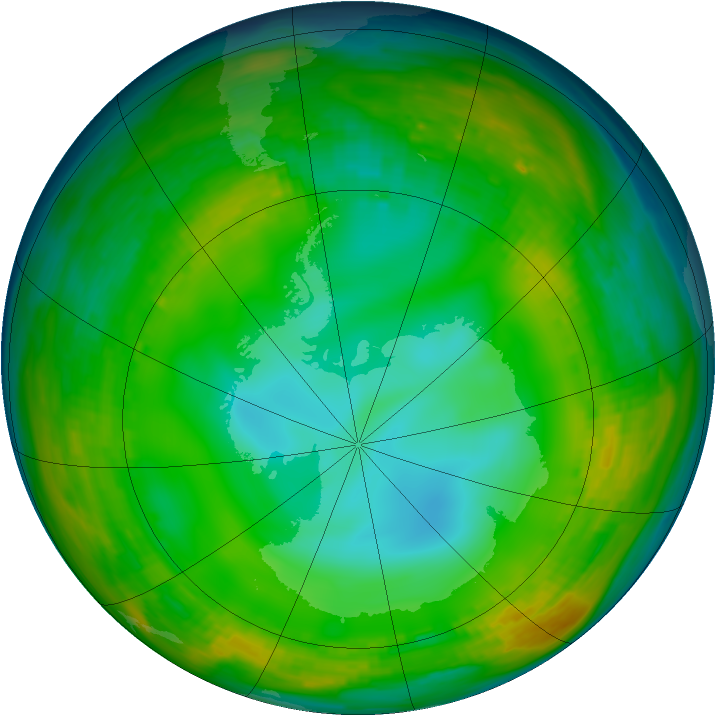 Antarctic ozone map for 07 July 1980
