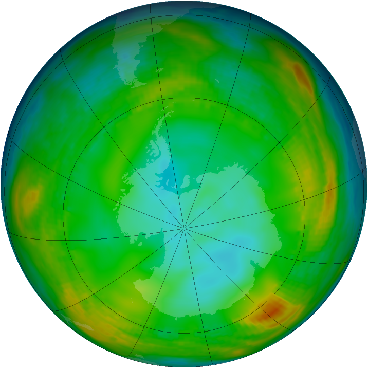 Antarctic ozone map for 09 July 1980