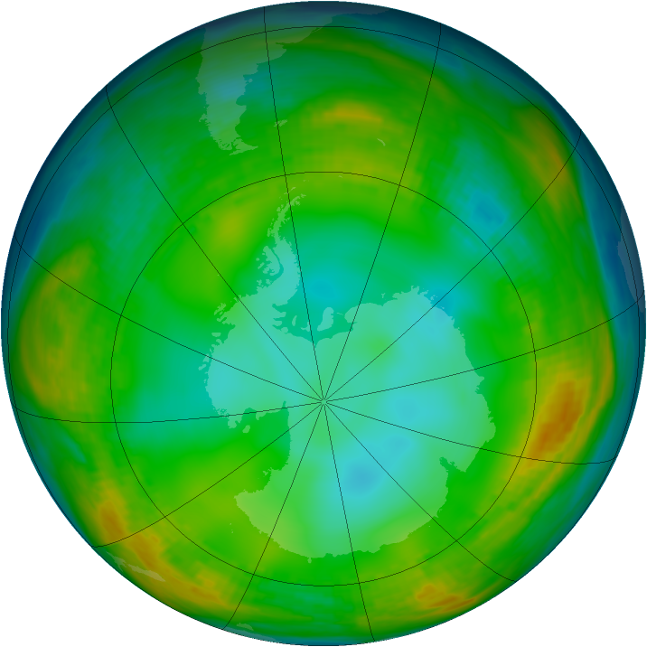 Antarctic ozone map for 10 July 1980