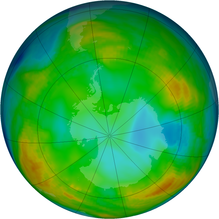 Antarctic ozone map for 13 July 1980