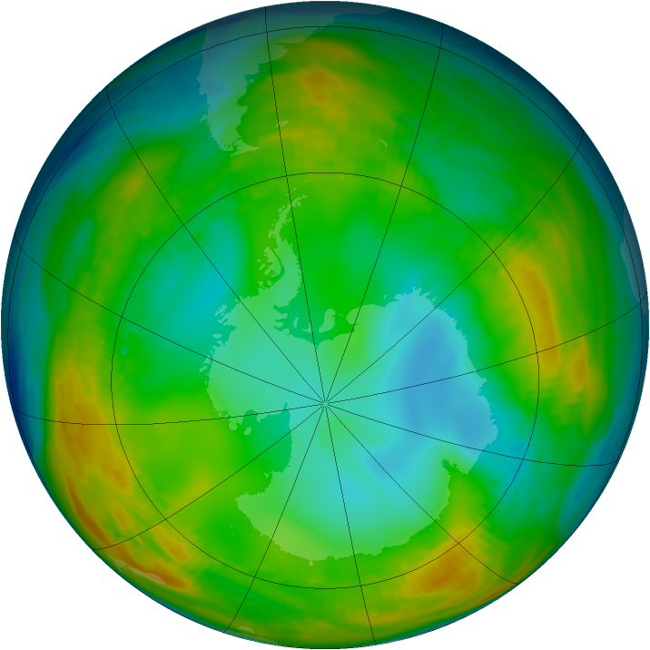 Antarctic ozone map for 14 July 1980