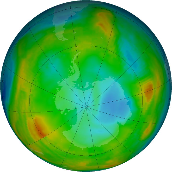 Antarctic ozone map for 15 July 1980