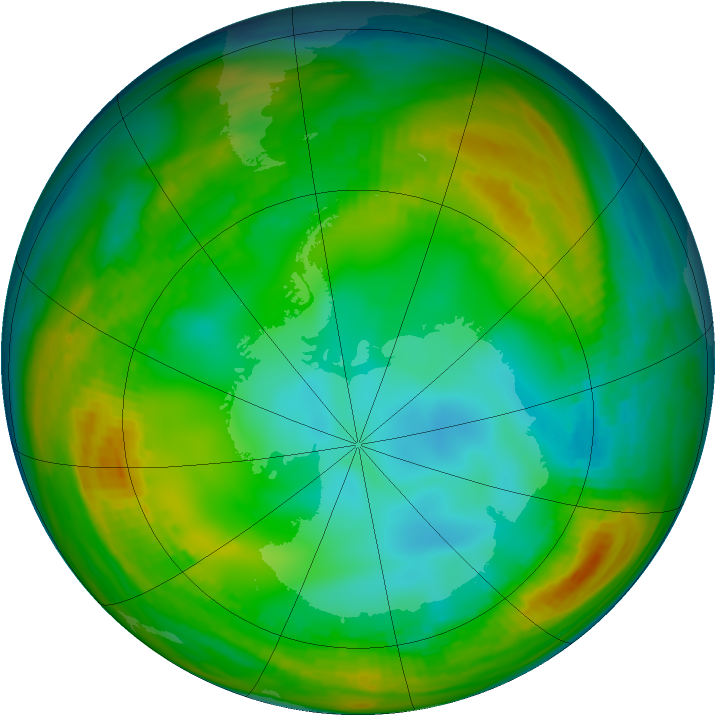 Antarctic ozone map for 19 July 1980