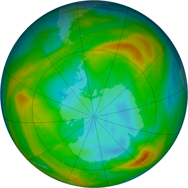 Antarctic ozone map for 20 July 1980