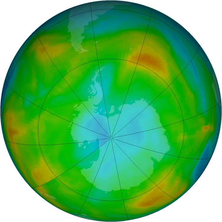Antarctic ozone map for 23 July 1980