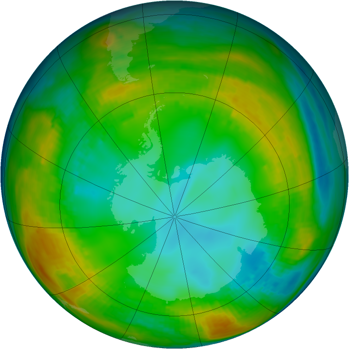 Antarctic ozone map for 25 July 1980