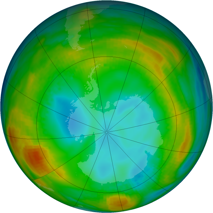 Antarctic ozone map for 26 July 1980