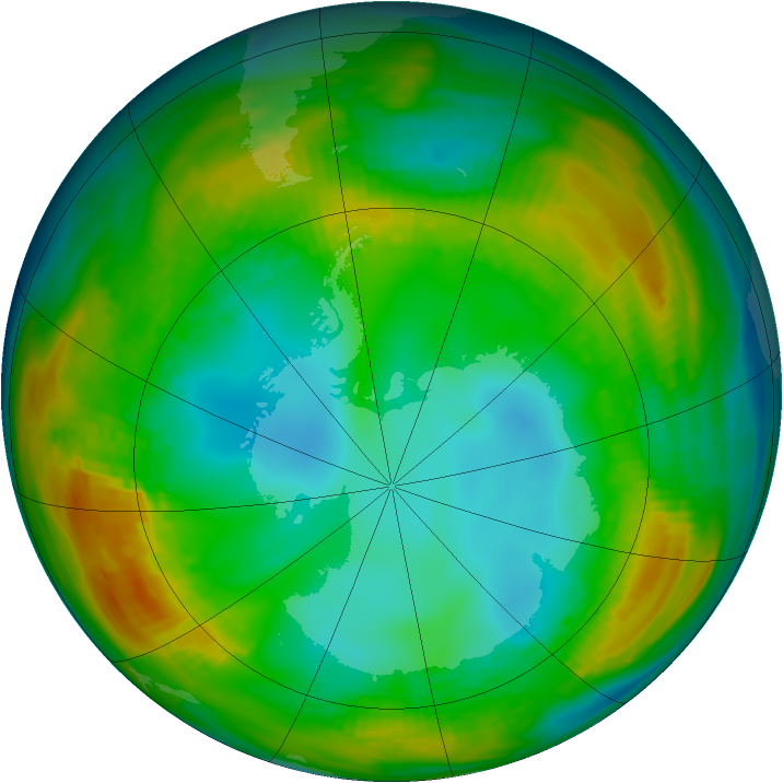 Antarctic ozone map for 27 July 1980