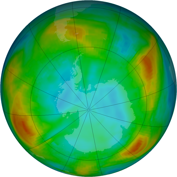 Antarctic ozone map for 28 July 1980