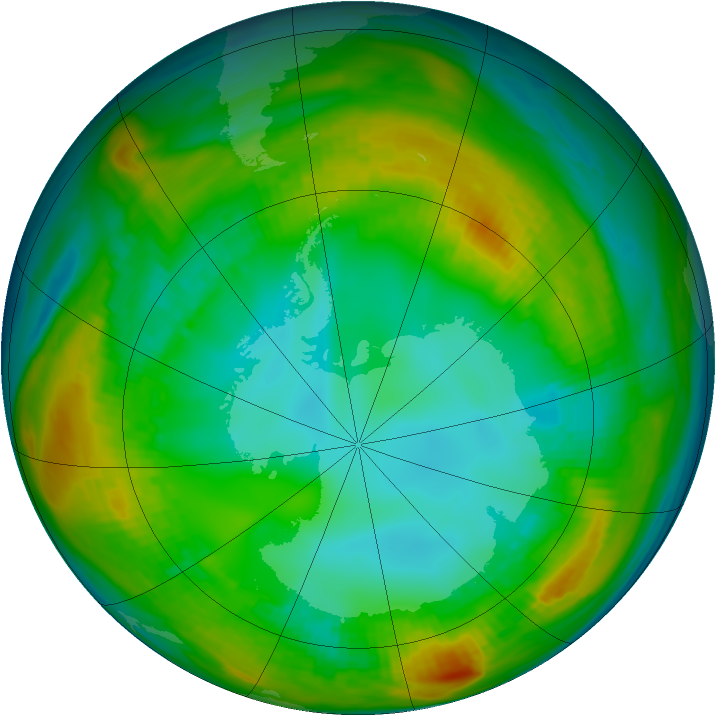 Antarctic ozone map for 31 July 1980