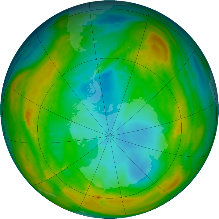 Antarctic ozone map for 03 August 1980