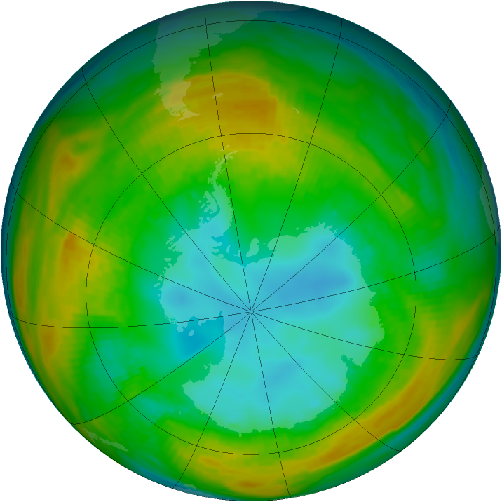 Antarctic ozone map for 10 August 1980