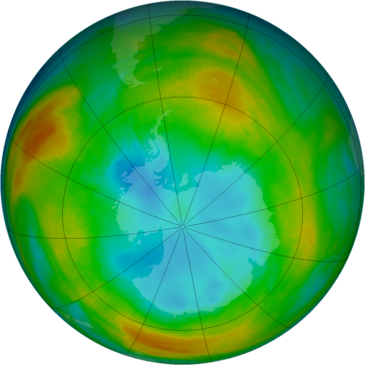 Antarctic ozone map for 12 August 1980