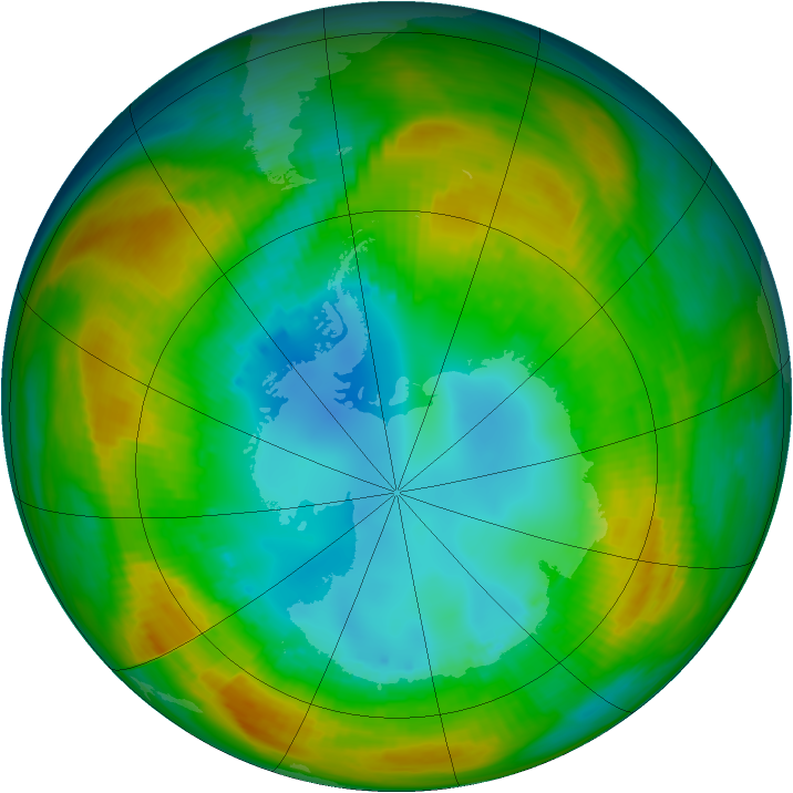 Antarctic ozone map for 13 August 1980