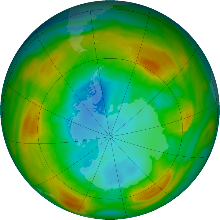 Antarctic ozone map for 15 August 1980
