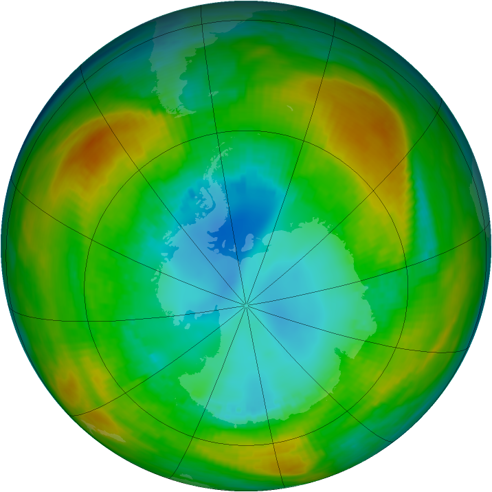 Antarctic ozone map for 17 August 1980