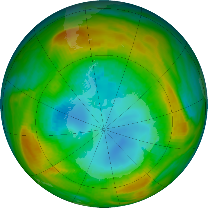 Antarctic ozone map for 20 August 1980
