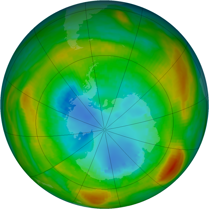 Antarctic ozone map for 23 August 1980