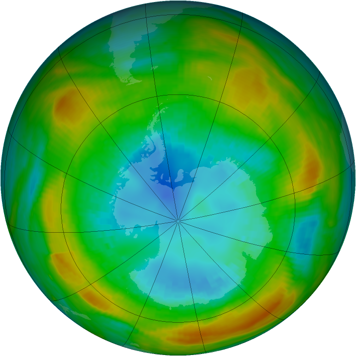 Antarctic ozone map for 27 August 1980