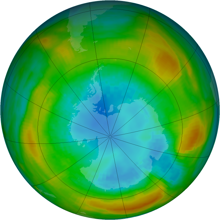 Antarctic ozone map for 28 August 1980