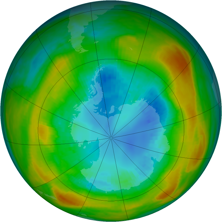 Antarctic ozone map for 30 August 1980
