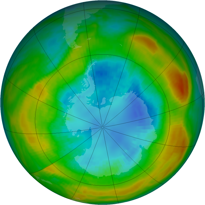 Antarctic ozone map for 31 August 1980