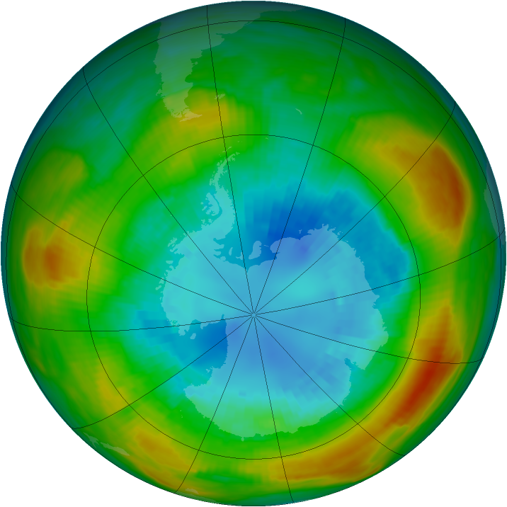 Antarctic ozone map for 02 September 1980