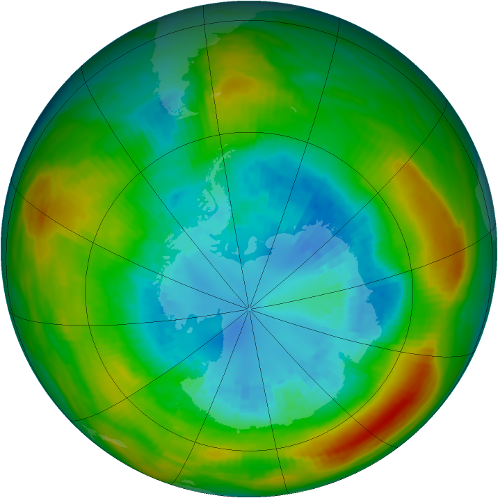 Antarctic ozone map for 03 September 1980