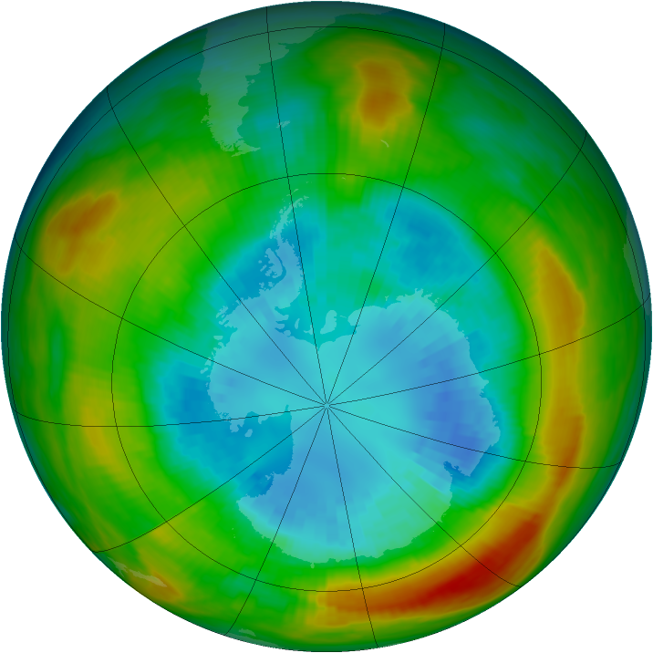 Antarctic ozone map for 04 September 1980