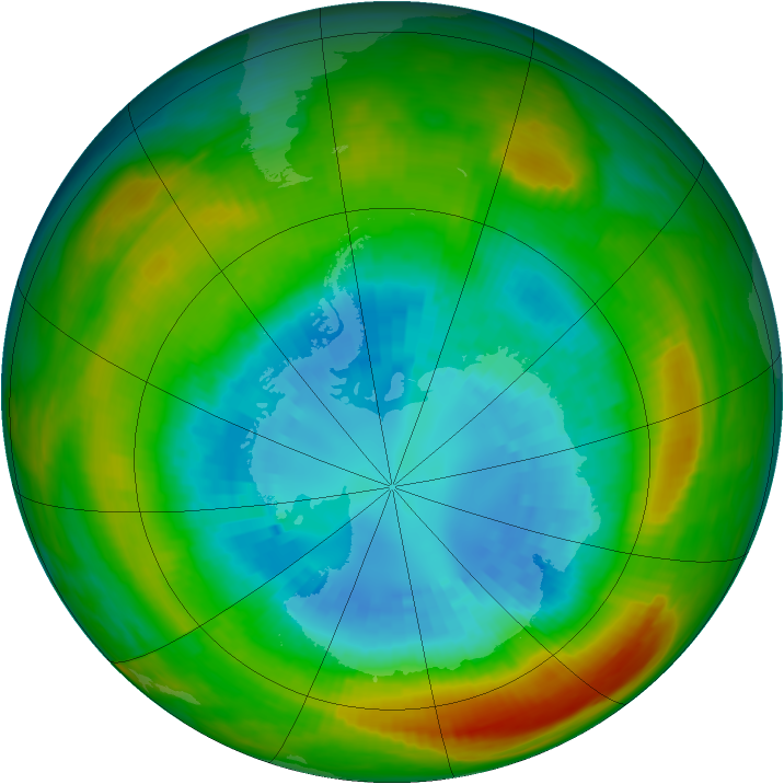 Antarctic ozone map for 05 September 1980