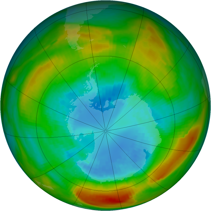 Antarctic ozone map for 07 September 1980